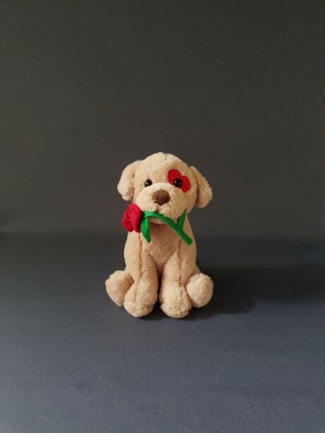 Λούτρινος σκύλος με τριαντάφυλλο - 8€