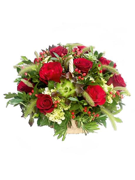 Καλάθι με λουλούδια εποχής - 60€