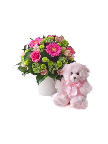 Ροζ αρκουδάκι και σύνθεση με λουλούδια σε τόνους του ροζ - 60€