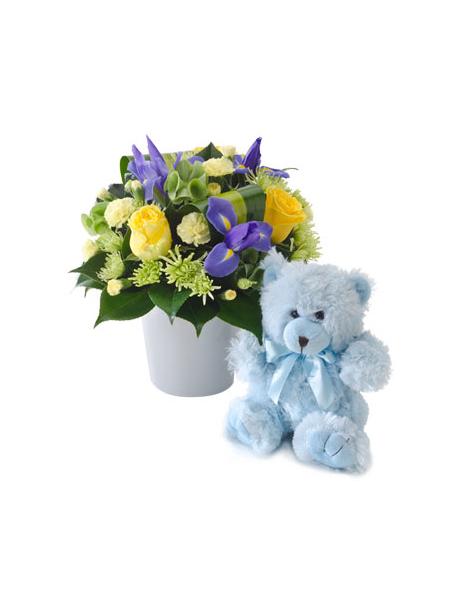 Μπλε αρκουδακι και σύνθεση με λουλούδια σε τόνους κίτρινους και μπλε - 60€