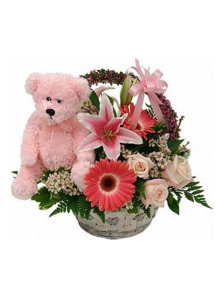 Καλαθάκι με λουλούδια και αρκουδάκι για νεογέννητο κοριτσάκι - 60€
