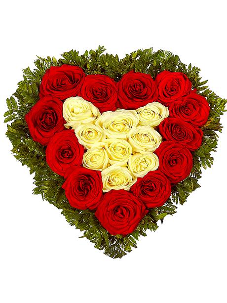 Εντυπωσιακή καρδιά με 21 κόκκινα και λευκά τριαντάφυλλα - €100.00